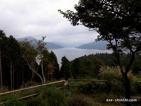芦ノ湖が見える